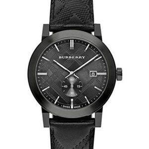 New Burberry Men's BU9906 Black Leather Watch